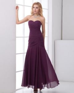 Chiffon Ruffle Sweetheart Sleeveless Backless Zipper Ankle Length Pleated Bridesmaids Dresses