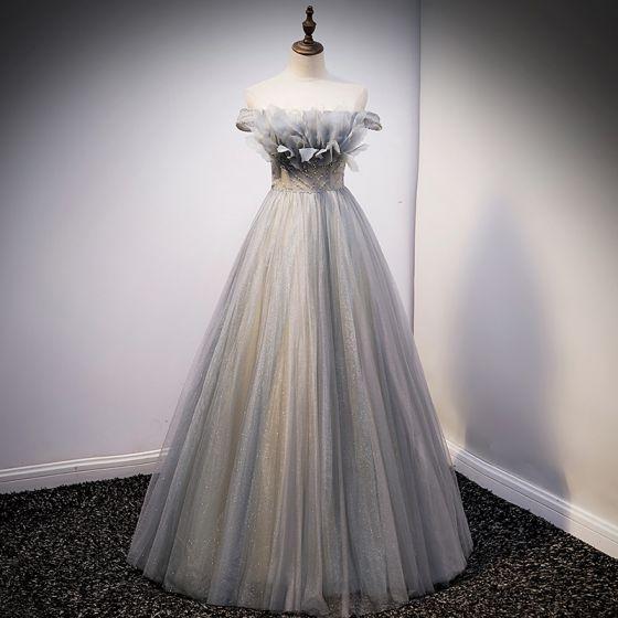 Mode Sølv Glitter Gallakjoler 2021 Prinsesse Off-The-Shoulder Beading Perle Pailletter Ærmeløs Halterneck Lange Galla Kjoler