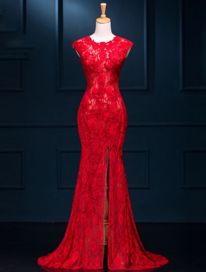 Sexy Evening Dresses 2016 Mermaid Scoop Neck Beading Split Front Red Lace Long Dress
