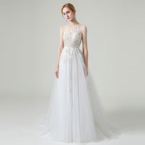 Charming White Outdoor / Garden See-through Wedding Dresses 2020 A-Line / Princess Scoop Neck Sleeveless Sash Appliques Lace Beading Sequins Sweep Train Ruffle