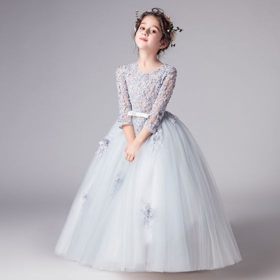 Espejismo Gris Vestidos para niñas 2019 Ball Gown Scoop Escote 3/4 Ærmer Traspasado Apliques Con Encaje Bowknot Cinturón Largos Ruffle Vestidos para bodas