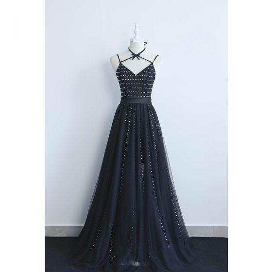 Classy Black Evening Dresses  2019 A-Line / Princess Halter Rhinestone Sleeveless Backless Floor-Length / Long Formal Dresses