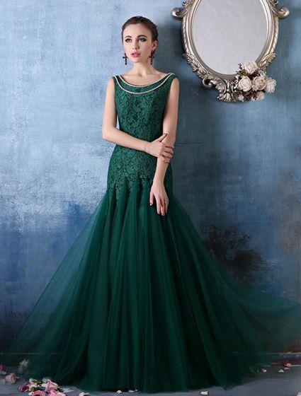 Glamorous Fyrkantig Urringning Med Metallkedja Gröna Spetsar Organza Aftonklänning