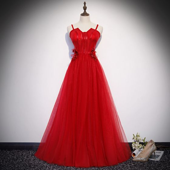 Classy Solid Color Red Evening Dresses  2019 A-Line / Princess Spaghetti Straps Beading Lace Flower Appliques Pearl Sleeveless Backless Floor-Length / Long Formal Dresses