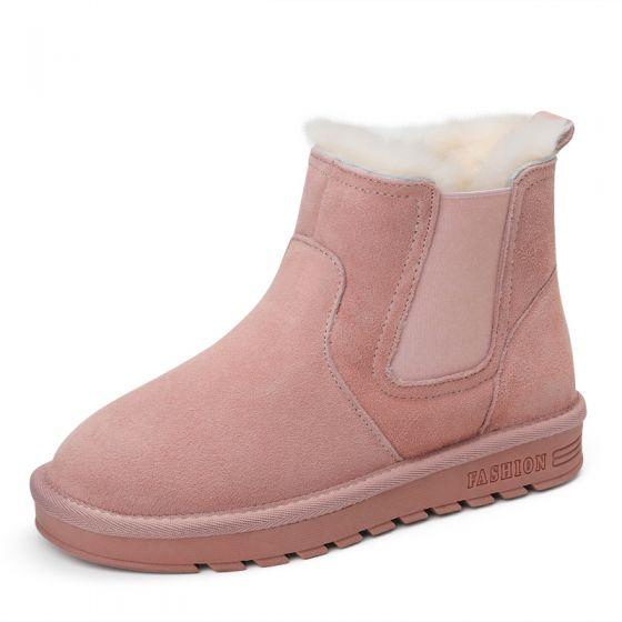 5ab58318b4defd Stylowe / Modne Buty Damskie 2017 Różowy Perłowy Skórzany Botki Zamszowe  Przypadkowy Zima Płaskie Snow Boots