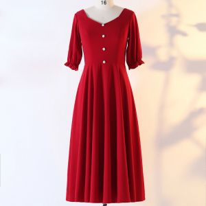 Chic / Beautiful Red Plus Size Evening Dresses  2020 A-Line / Princess V-Neck 1/2 Sleeves Buttons Handmade  Solid Color Evening Party Outdoor / Garden Summer Tea-length Formal Dresses