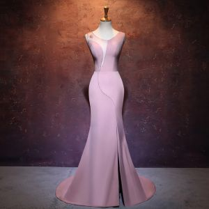 Chic / Beautiful Candy Pink Pierced Evening Dresses  2017 Trumpet / Mermaid Scoop Neck Sleeveless Crystal Split Front Court Train Backless Formal Dresses