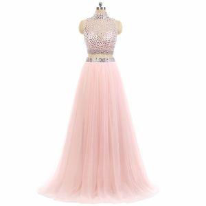 Scintillantes 2 Pièces Rose Bonbon Robe De Bal 2017 Princesse Col Haut Sans Manches Perlage Faux Diamant Tulle Robe De Ceremonie Train De Balayage