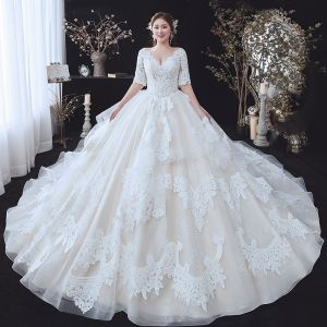 Chic / Beautiful Champagne Plus Size Wedding Dresses 2020 Ball Gown V-Neck 1/2 Sleeves Backless Appliques Lace Beading Cathedral Train Ruffle