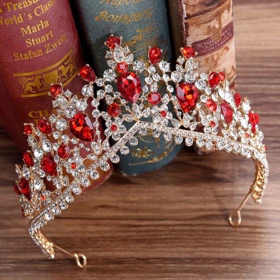 Mooie / Prachtige Rode Rhinestone Tiara Bruids Haaraccessoires 2020 Legering Huwelijk Accessoires