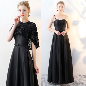 2 Piece Black Evening Dresses  2017 A-Line / Princess Scoop Neck 1/2 Sleeves Appliques Flower Bow Sash Floor-Length / Long Formal Dresses