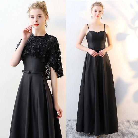2 Piece Black Evening Dresses  2017 A-Line / Princess Scoop Neck 1/2 Sleeves Appliques Flower Bow Sash Floor-Length / Long Formal Dresses