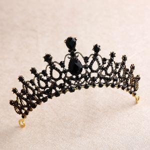 Vintage Barok Zwarte Rhinestone Tiara 2020 Metaal Bruids Haaraccessoires