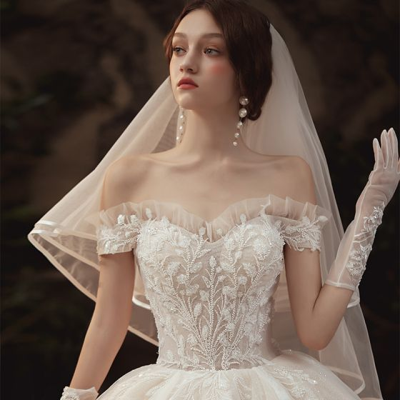 Luxury / Gorgeous Champagne Wedding Dresses 2020 Ball Gown Off-The-Shoulder Short Sleeve Backless Glitter Tulle Appliques Lace Beading Royal Train Ruffle