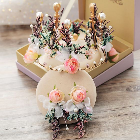 Wróżka Kwiatowa Złote Sztuczne Kwiaty Biżuteria Ślubna 2019 Metal Kryształ Perła Kwiat Tiara Kolczyki Akcesoria