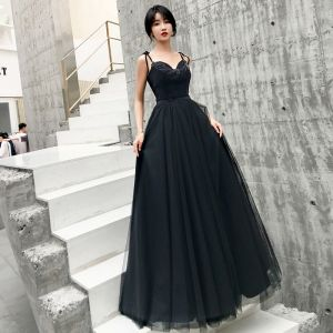 Chic / Beautiful Black Prom Dresses 2019 A-Line / Princess Spaghetti Straps Sleeveless Beading Floor-Length / Long Ruffle Backless Formal Dresses