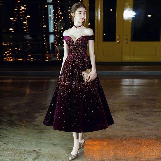 Chic / Belle Bordeaux Velour Robe De Bal 2020 Princesse De l'épaule Manches Courtes Faux Diamant Thé Longueur Volants Dos Nu Robe De Ceremonie