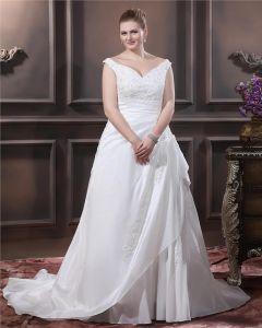 Taffeta Beading Applique V Neck Court Plus Size Bridal Gown Wedding Dress