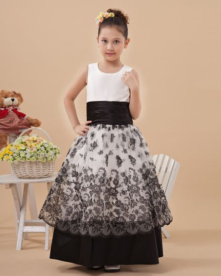 Fashion Satin Embroidery Hem Flower Girl Dresses