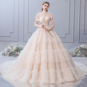 Luxury / Gorgeous Champagne Wedding Dresses 2019 A-Line / Princess High Neck Beading Crystal Pearl Sequins Short Sleeve Backless Royal Train