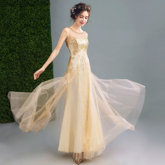 Sparkly Evening Dresses  Champagne 2017 Crossed Straps Glitter Rhinestone Strappy Chiffon Scoop Neck Beach Cocktail Party Outdoor / Garden Sleeveless Ball Gown Evening Party