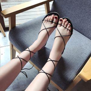 Chic / Belle 2017 Noire Marron Plage Désinvolte PU Été Lanières Plate Plat Sandales Peep Toes / Bout Ouvert Sandales Femme