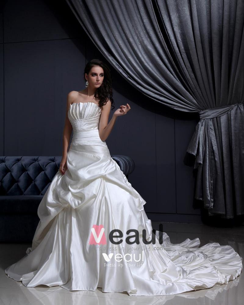 Pleated Ruffles Court Mermaid Bridal Gown Wedding Dress