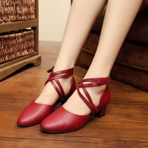 Mode Rød Latin Dansesko 2020 8 cm Læder Spænde Dancing Galla X-Strap Højhælede Sandaler Runde Tå Damesko