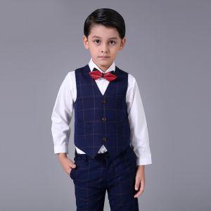 Simple Bleu Marine à carreaux Boys Wedding Suits 2017 Manches Longues