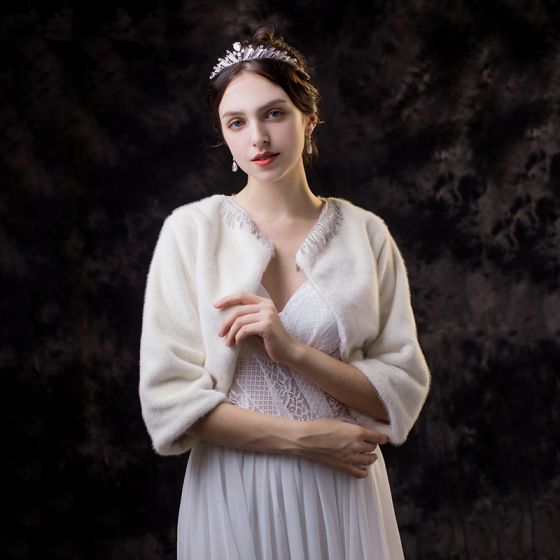 Piękne Białe szal 2020 Frezowanie Rhinestone Cekiny 3/4 Rękawy Poliester Wycięciem ślubna Ślub Wieczorowe Bal Zima Akcesoria