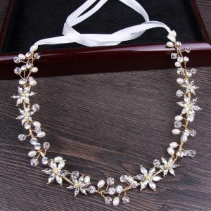 Modest / Simple Gold Headpieces 2018 Metal Crystal Pearl Lace-up Accessories