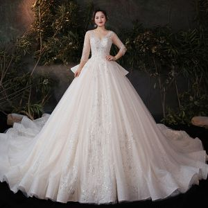 Chic / Beautiful Champagne Plus Size Wedding Dresses 2020 Ball Gown See-through V-Neck 3/4 Sleeve Backless Appliques Sequins Glitter Tulle Cathedral Train Ruffle