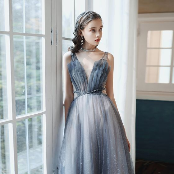 High-end Navy Blue Gradient-Color Prom Dresses 2020 A-Line / Princess Deep V-Neck Sleeveless Beading Glitter Tulle Sweep Train Ruffle Backless Formal Dresses