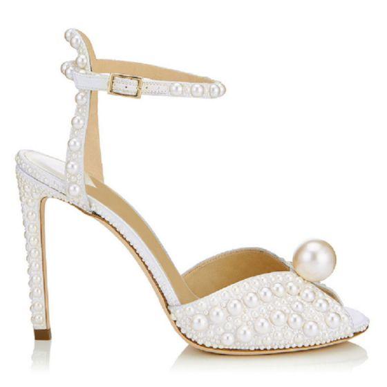 Élégant Ivoire Chaussure De Mariée 2020 Perle Bride Cheville 9 cm Talons Aiguilles Peep Toes / Bout Ouvert Mariage Sandales