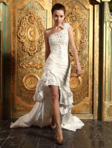 Korte Og Mini En Skulder Beading Volanger Organza Satin Brudekjole
