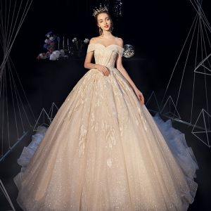 Bling Bling Champagne Wedding Dresses 2019 A-Line / Princess Off-The-Shoulder Short Sleeve Backless Appliques Lace Beading Sequins Glitter Tulle Chapel Train Ruffle