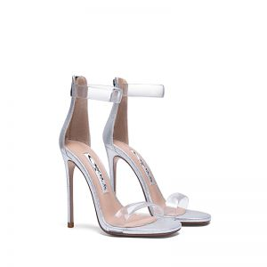 Sexy Silver Rave Club Womens Sandals 2020 Ankle Strap 10 cm Stiletto Heels Open / Peep Toe Sandals
