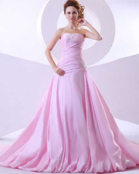 Taffeta Applique Ruffle Strapless Chapel A-line Bridal Gown Wedding Dress