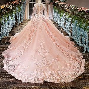 Luxury / Gorgeous Pearl Pink Wedding Dresses 2018 Ball Gown Lace Flower Appliques Beading Rhinestone Scoop Neck Long Sleeve Cathedral Train Wedding