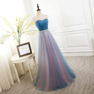 Chic / Beautiful 2017 Evening Dresses  Sky Blue Chiffon Striped Strapless Rhinestone A-Line / Princess Formal Dresses