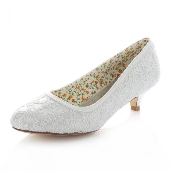 Belle Dentelle Chaussures De Mariée Escarpin Petit Talon Blanches