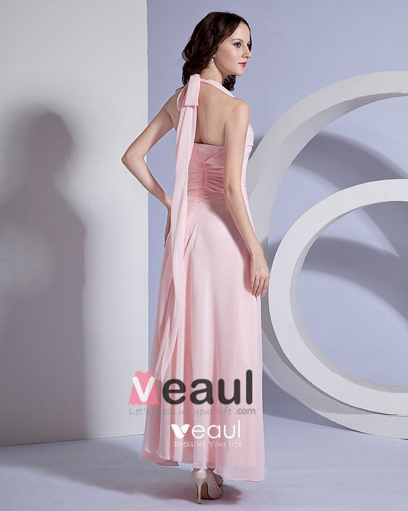 Solid Pleated Chiffon Halter Floor Length Bridesmaid Dresses