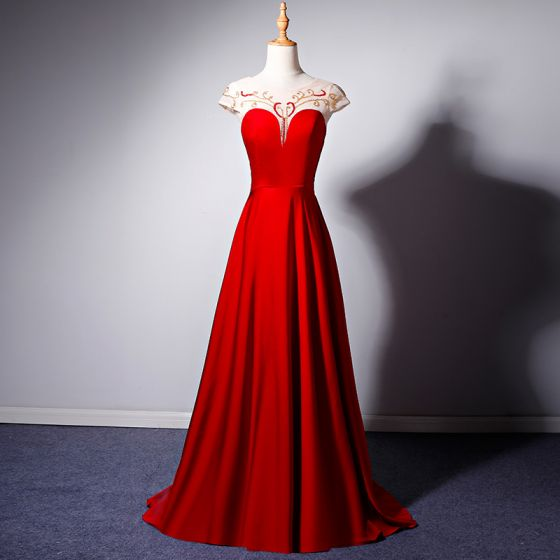 Classy Red See-through Evening Dresses  2019 A-Line / Princess Scoop Neck Cap Sleeves Beading Floor-Length / Long Ruffle Backless Formal Dresses