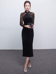 Elegantes Schwarzes Abendkleid Lange Spitzenärmel Samtkleid Für Die Mutter Der Braut Ausgestattet