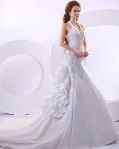 Beautiful Taffeta Beading Applique Halter Monarch Train Mermaid Wedding Dress