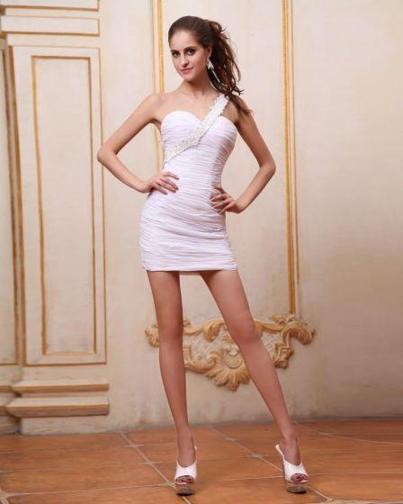 Bez Rekawow, Biale Falbany Szyfonowe Krótkie Sexy Jedno Ramie Tanie Sukienki Koktajlowe Sukienki Wizytowe