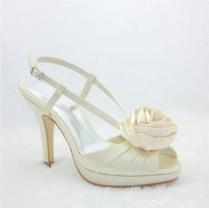Glamorous Wedding Shoes Satin Stilettos Slingbacks Sandals With Rose Flower