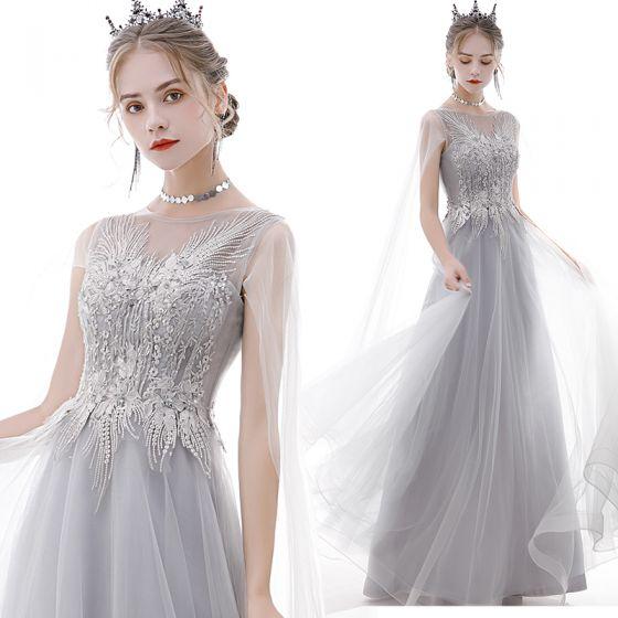 Elegante Gris Vestidos de gala 2020 A-Line / Princess Scoop Escote Perla Rhinestone Lentejuelas Con Encaje Flor Manga Corta Sin Espalda Largos Vestidos Formales