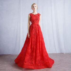 Chic / Beautiful Red Evening Dresses  2017 A-Line / Princess Appliques Lace Flower Sequins Scoop Neck Zipper Up Sleeveless Evening Party