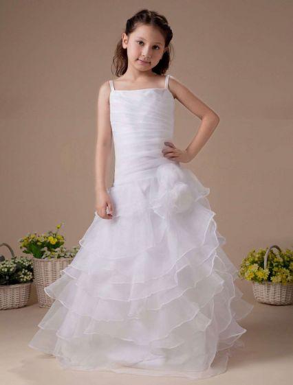 Fantastic White Tulle Ruffle Flower Girl Dress